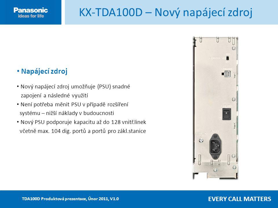 EVERY CALL MATTERS TDA100D Produktová prezentace, Únor 2011, V1.0 Nová karta MPR Vestavěná DLC4 (4 DPT + 4 D-XDP) Sériové rozhraní pro snadnou a efektivní instalaci Vestavěná DLC4 (4 DPT + 4 D-XDP) Sériové rozhraní pro snadnou a efektivní instalaci Navíc: rozšířená kapacita SRAM pro podporu SMDR – registrace až do 2500 hovorů Rozhraní pro 2 vstupní porty pro přehrání hudby při přidržení a přípojka RJ45 pro 2 výstupní porty externích pagerů Navíc: rozšířená kapacita SRAM pro podporu SMDR – registrace až do 2500 hovorů Rozhraní pro 2 vstupní porty pro přehrání hudby při přidržení a přípojka RJ45 pro 2 výstupní porty externích pagerů Poznámka: 1.