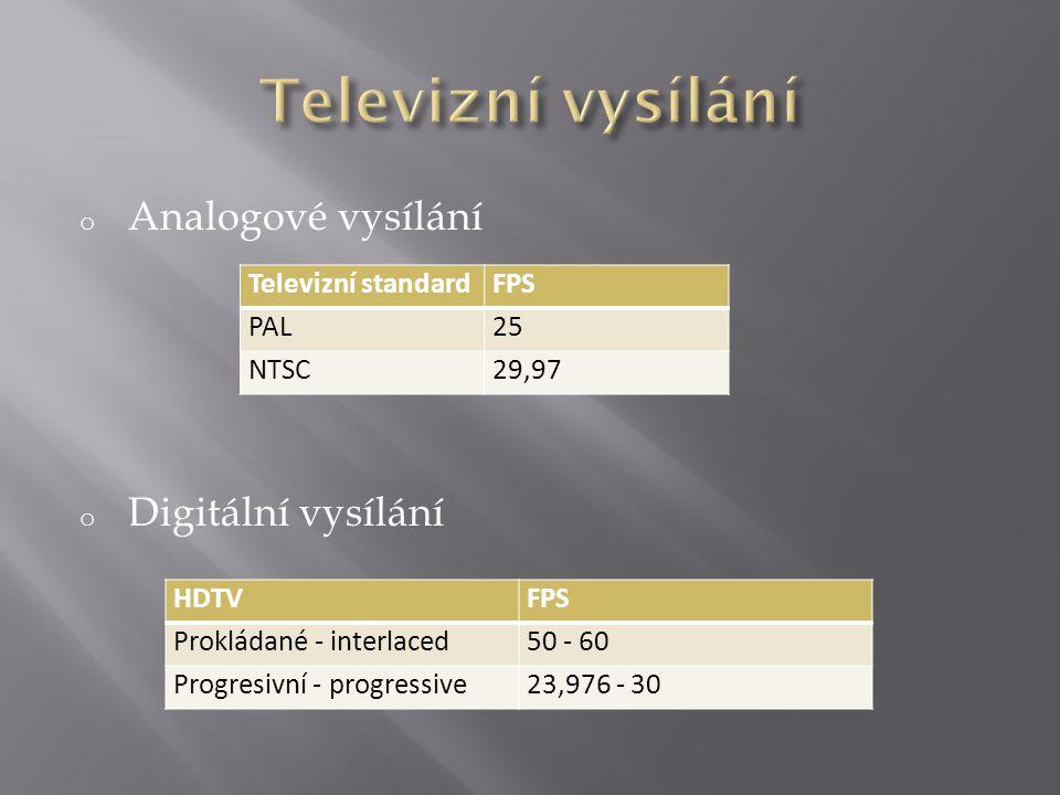 o Analogové vysílání o Digitální vysílání Televizní standardFPS PAL25 NTSC29,97 HDTVFPS Prokládané - interlaced50 - 60 Progresivní - progressive23,976 - 30
