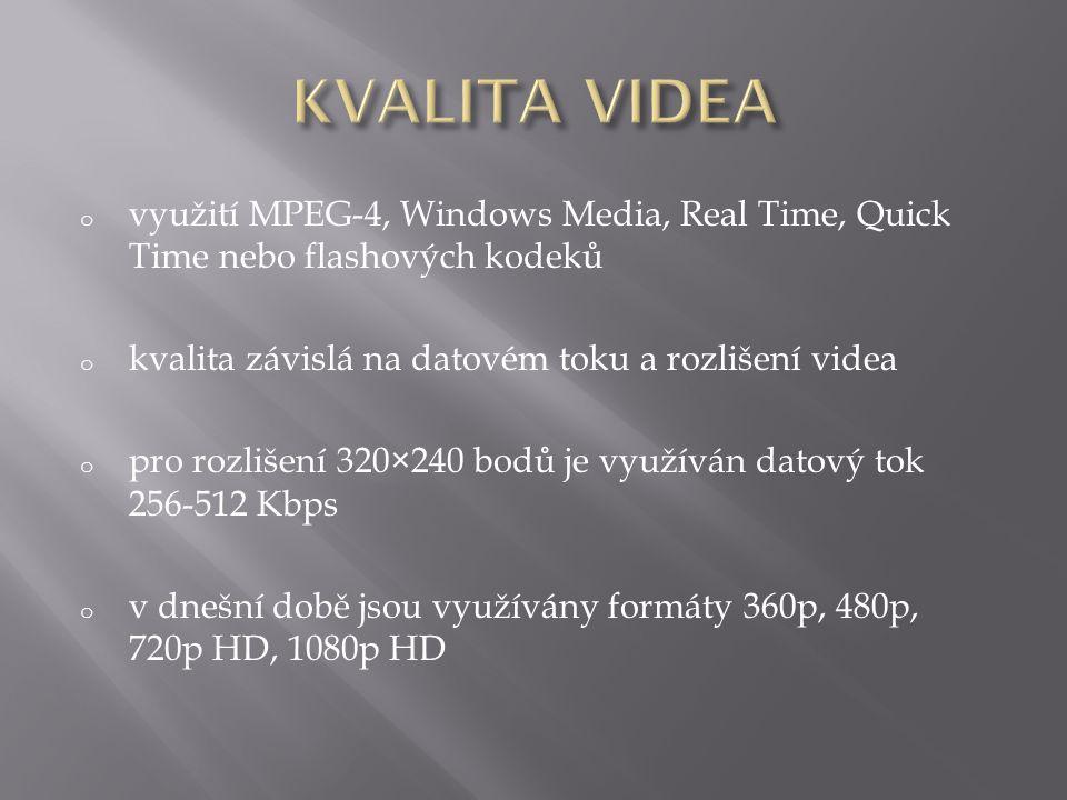 o využití MPEG-4, Windows Media, Real Time, Quick Time nebo flashových kodeků o kvalita závislá na datovém toku a rozlišení videa o pro rozlišení 320×240 bodů je využíván datový tok 256-512 Kbps o v dnešní době jsou využívány formáty 360p, 480p, 720p HD, 1080p HD