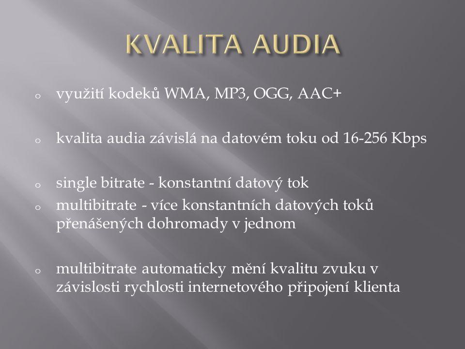 o využití kodeků WMA, MP3, OGG, AAC+ o kvalita audia závislá na datovém toku od 16-256 Kbps o single bitrate - konstantní datový tok o multibitrate - více konstantních datových toků přenášených dohromady v jednom o multibitrate automaticky mění kvalitu zvuku v závislosti rychlosti internetového připojení klienta