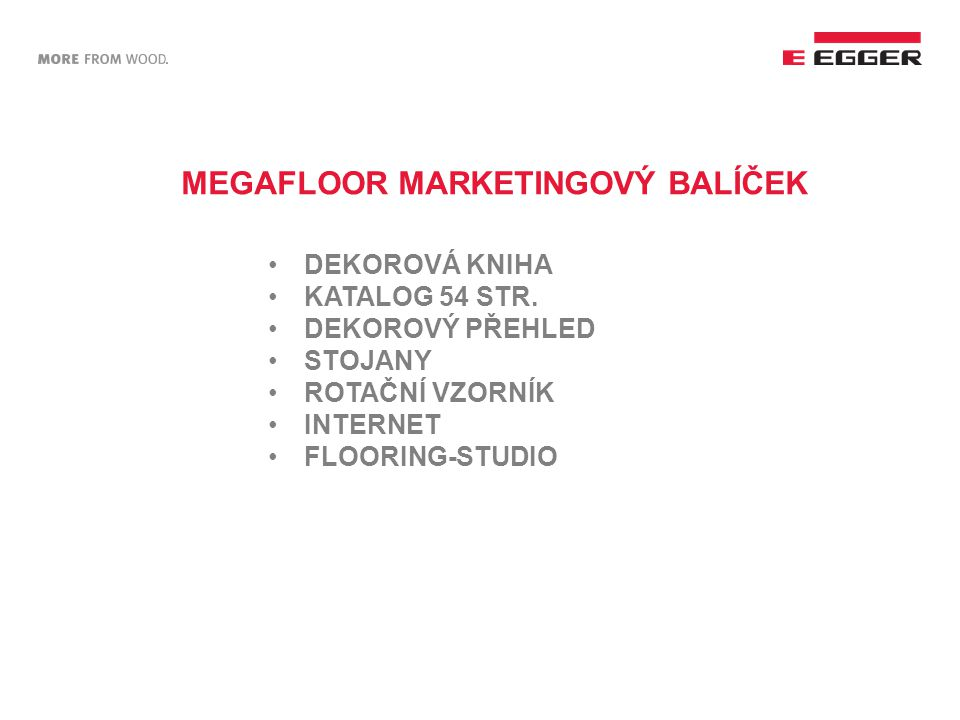 MEGAFLOOR MARKETINGOVÝ BALÍČEK DEKOROVÁ KNIHA KATALOG 54 STR. DEKOROVÝ PŘEHLED STOJANY ROTAČNÍ VZORNÍK INTERNET FLOORING-STUDIO