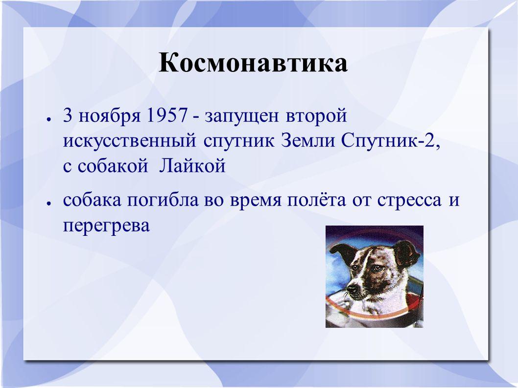 Космонавтика ● 3 ноября 1957 - запущен второй искусственный спутник Земли Спутник-2, с собакой Лайкой ● собака погибла во время полёта от стресса и пе