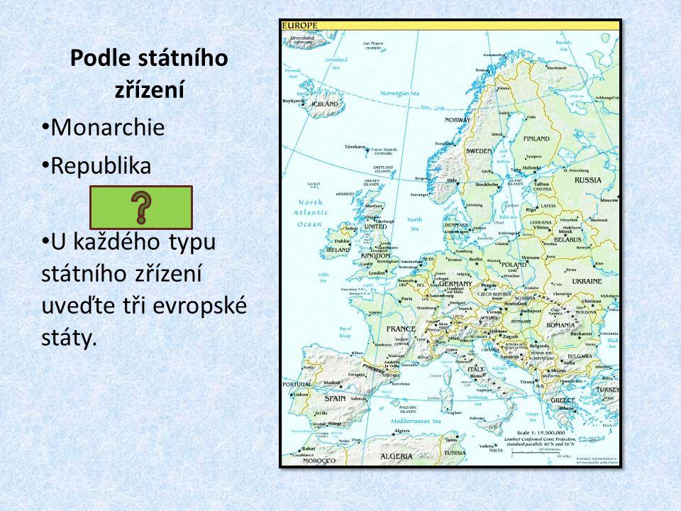 Monarchie Republika U každého typu státního zřízení uveďte tři evropské státy.