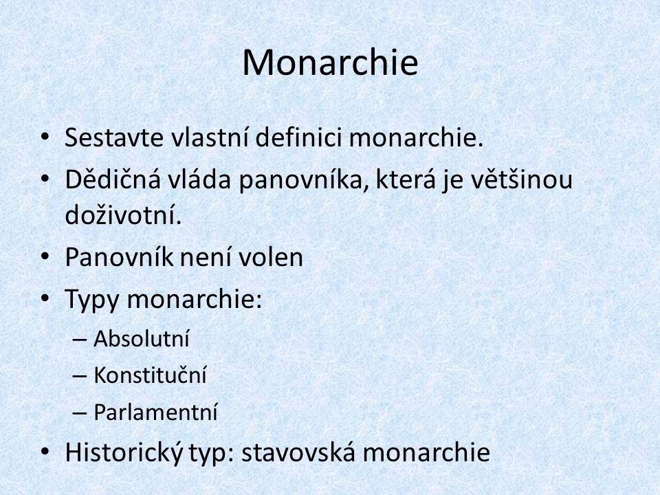 Monarchie Sestavte vlastní definici monarchie.
