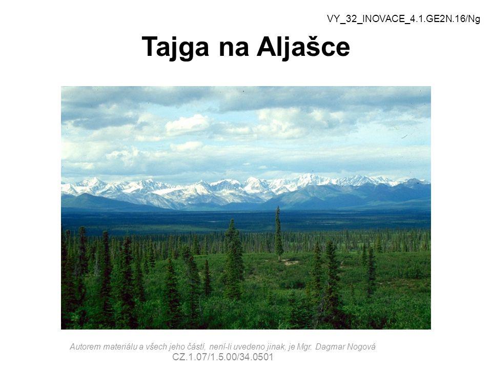 Tajga na Aljašce VY_32_INOVACE_4.1.GE2N.16/Ng Autorem materiálu a všech jeho částí, není-li uvedeno jinak, je Mgr.