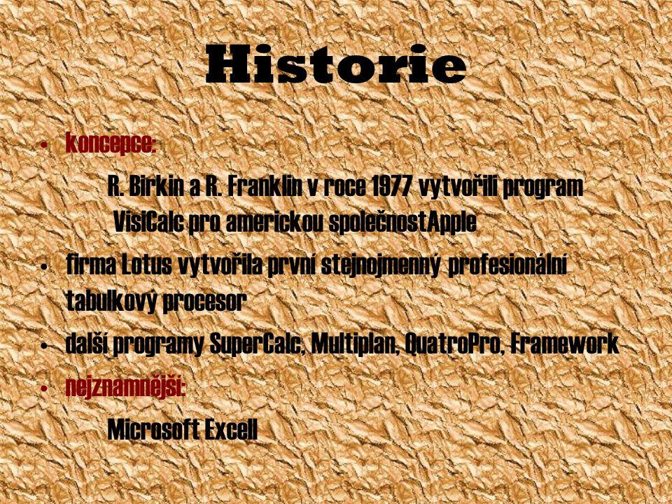 Historie koncepce: R. Birkin a R. Franklin v roce 1977 vytvořili program VisiCalc pro americkou společnostApple firma Lotus vytvořila první stejnojmen