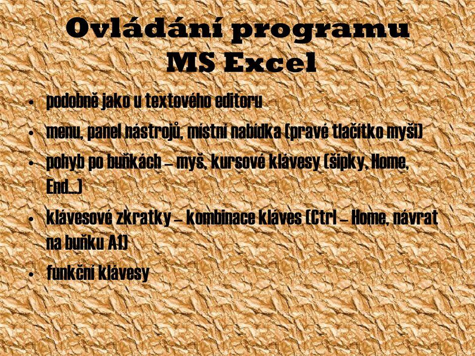 Ovládání programu MS Excel podobně jako u textového editoru menu, panel nástrojů, místní nabídka (pravé tlačítko myši) pohyb po buňkách – myš, kursové