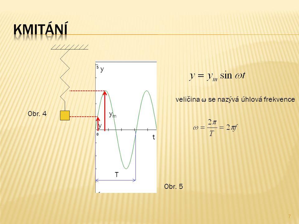 7 Obr. 5 T t y veličina  se nazývá úhlová frekvence ymym y Obr. 4