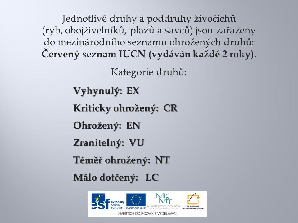 Pro přesnější určení stupně ohrožení v ČR byl podle zákona 114/1992 Sb.
