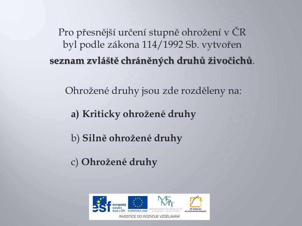 Pro přesnější určení stupně ohrožení v ČR byl podle zákona 114/1992 Sb. vytvořen seznam zvláště chráněných druhů živočichů seznam zvláště chráněných d