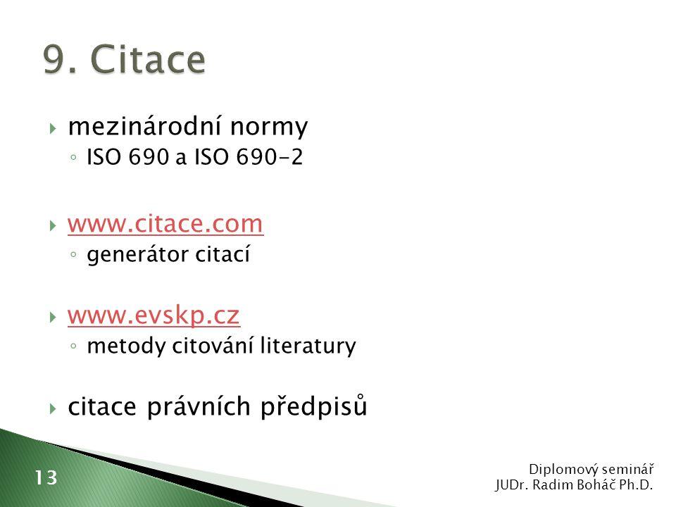  mezinárodní normy ◦ ISO 690 a ISO 690-2  www.citace.com www.citace.com ◦ generátor citací  www.evskp.cz www.evskp.cz ◦ metody citování literatury