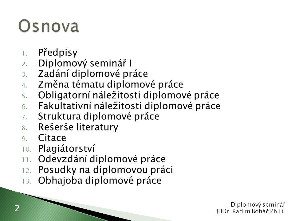  mezinárodní normy ◦ ISO 690 a ISO 690-2  www.citace.com www.citace.com ◦ generátor citací  www.evskp.cz www.evskp.cz ◦ metody citování literatury  citace právních předpisů Diplomový seminář JUDr.