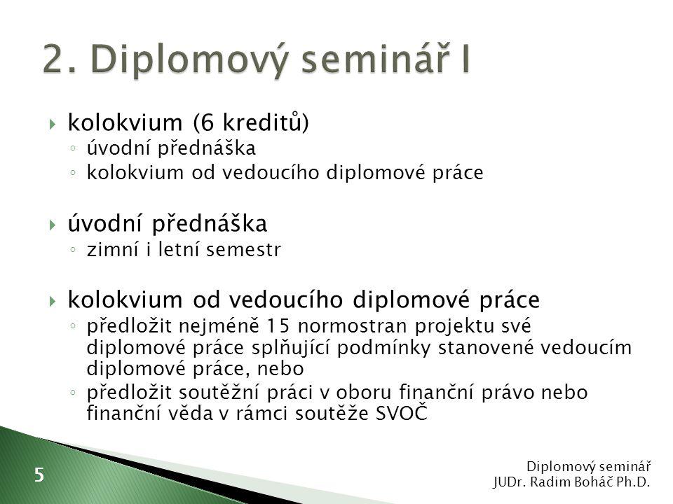  kolokvium (6 kreditů) ◦ úvodní přednáška ◦ kolokvium od vedoucího diplomové práce  úvodní přednáška ◦ zimní i letní semestr  kolokvium od vedoucíh