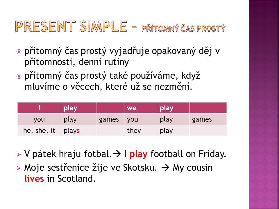 !!.Ve třetí osobě čísla jednotného (he, she, it) dáváme na konec slovesa koncovku e, es !!.