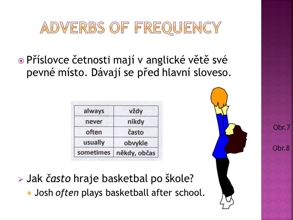 Příslovce četnosti mají v anglické větě své pevné místo.