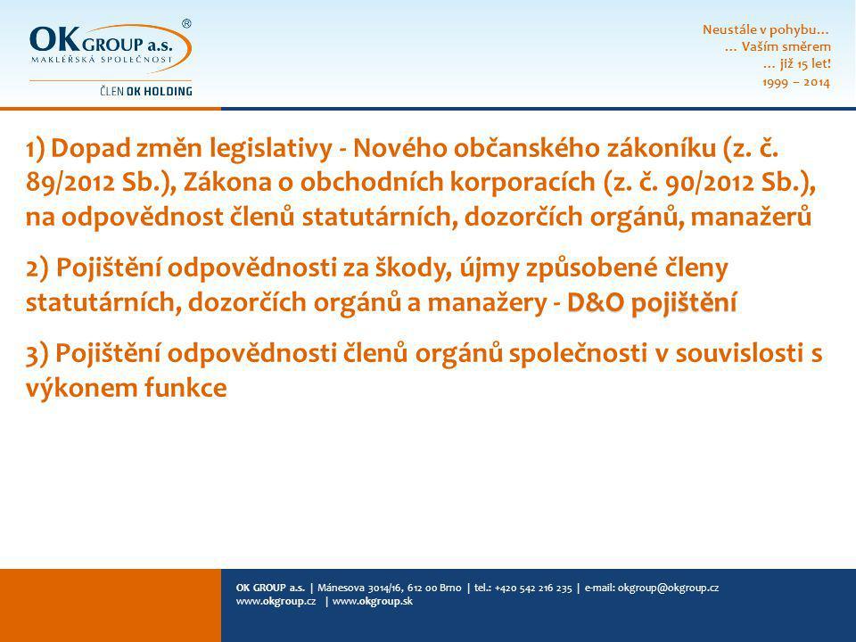 OK GROUP a.s. | Mánesova 3014/16, 612 00 Brno | tel.: +420 542 216 235 | e-mail: okgroup@okgroup.cz www.okgroup.cz | www.okgroup.sk 1) Dopad změn legi