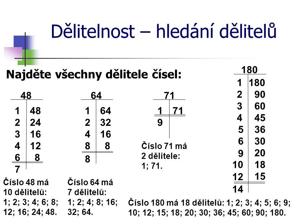 Dělitelnost – hledání dělitelů Najděte všechny dělitele čísel: 48 1 242 163 7 Číslo 48 má 10 dělitelů: 1; 2; 3; 4; 6; 8; 12; 16; 24; 48. 64 1 322 164