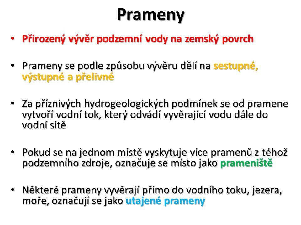 Prameny V České republice je pozorovací síť pramenů V České republice je pozorovací síť pramenů U pozorovaných pramenů se provádí měření vydatnosti, teploty a Ph U pozorovaných pramenů se provádí měření vydatnosti, teploty a Ph Jednotkou vydatnosti pramenů je l·s −1, při velkých vydatnostech m 3.s −1 Jednotkou vydatnosti pramenů je l·s −1, při velkých vydatnostech m 3.s −1
