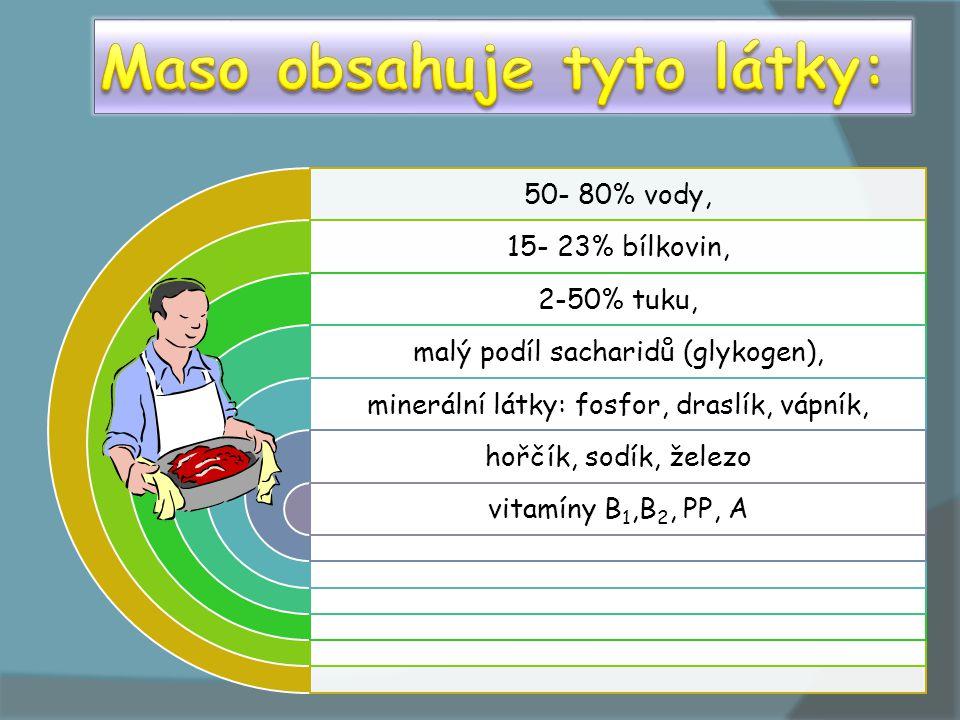 50- 80% vody, 15- 23% bílkovin, 2-50% tuku, malý podíl sacharidů (glykogen), minerální látky: fosfor, draslík, vápník, hořčík, sodík, železo vitamíny B1,B2, PP, A