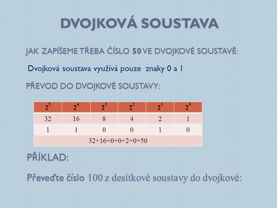 DVOJKOVÁ SOUSTAVA JAK ZAPÍŠEME TŘEBA ČÍSLO 50 VE DVOJKOVÉ SOUSTAVĚ: Dvojková soustava využívá pouze znaky 0 a 1 PŘEVOD DO DVOJKOVÉ SOUSTAVY: 2525 2424