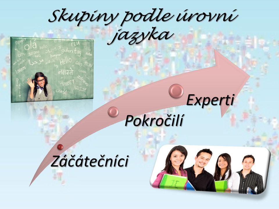 Skupiny podle úrovní jazyka Záčátečníci Záčátečníci Pokročilí Pokročilí Experti Experti