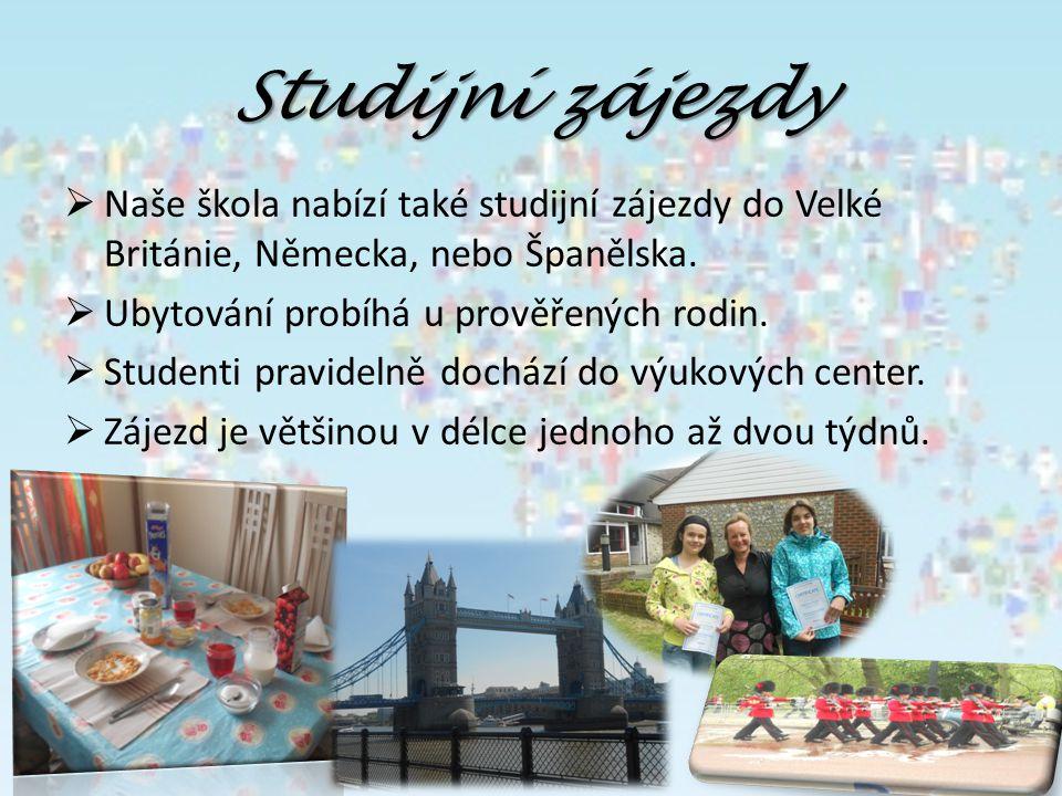 Studijní zájezdy  Naše škola nabízí také studijní zájezdy do Velké Británie, Německa, nebo Španělska.  Ubytování probíhá u prověřených rodin.  Stud