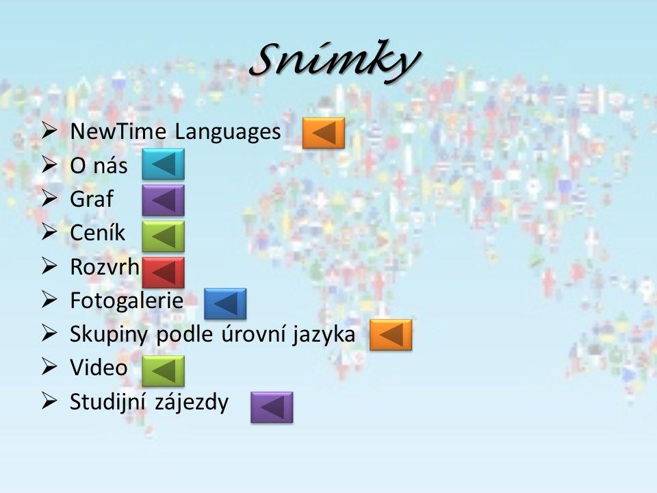 Snímky  NewTime Languages  O nás  Graf  Ceník  Rozvrh  Fotogalerie  Skupiny podle úrovní jazyka  Video  Studijní zájezdy