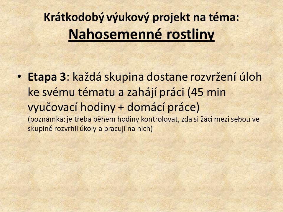 Etapa 3: každá skupina dostane rozvržení úloh ke svému tématu a zahájí práci (45 min vyučovací hodiny + domácí práce) (poznámka: je třeba během hodiny