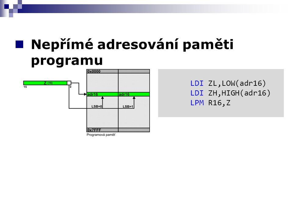 Nepřímé adresování paměti programu LDI ZL,LOW(adr16) LDI ZH,HIGH(adr16) LPM R16,Z