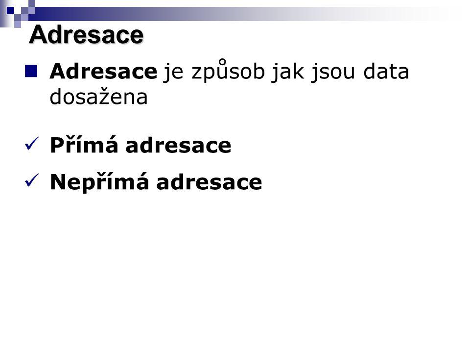 Adresace je způsob jak jsou data dosažena Přímá adresace Nepřímá adresace Adresace