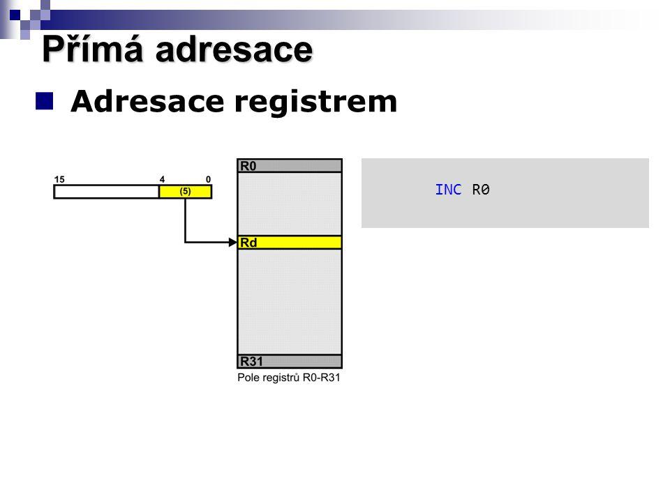 Adresace registrem Přímá adresace INC R0