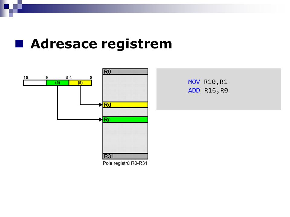 Adresace registrem MOV R10,R1 ADD R16,R0