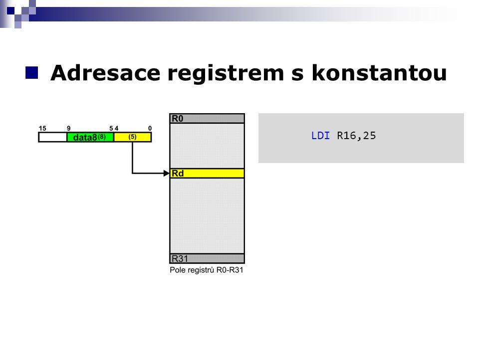 Adresace registrem s konstantou LDI R16,25