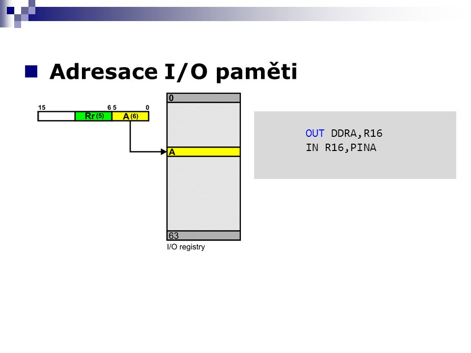 Adresace I/O paměti OUT DDRA,R16 IN R16,PINA