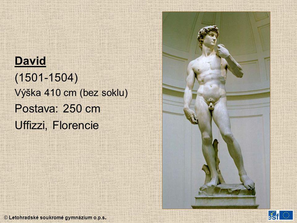 © Letohradské soukromé gymnázium o.p.s. David (1501-1504) Výška 410 cm (bez soklu) Postava: 250 cm Uffizzi, Florencie