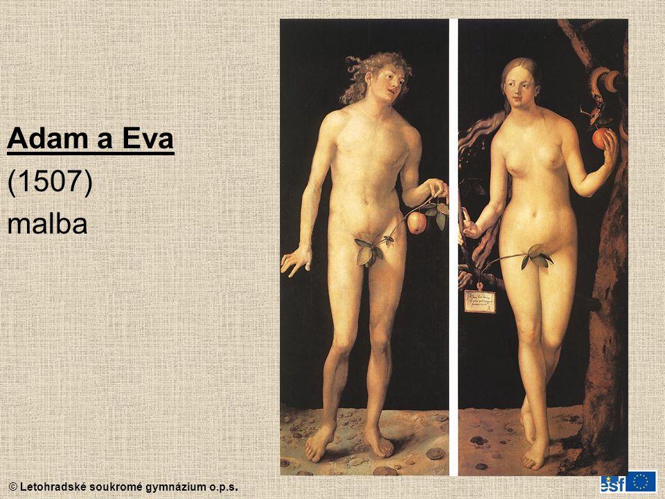 © Letohradské soukromé gymnázium o.p.s. Adam a Eva (1507) malba