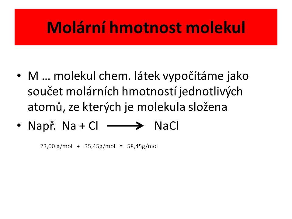 Molární hmotnost molekul M … molekul chem.