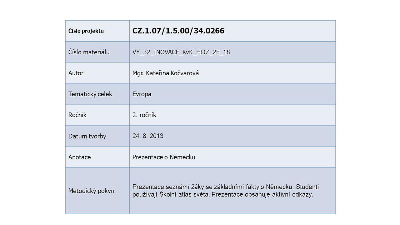Číslo projektu CZ.1.07/1.5.00/34.0266 Číslo materiálu VY_32_INOVACE_KvK_ HOZ _2E_18 Autor Mgr. Kateřina Kočvarová Tematický celek Evropa Ročník 2. r o