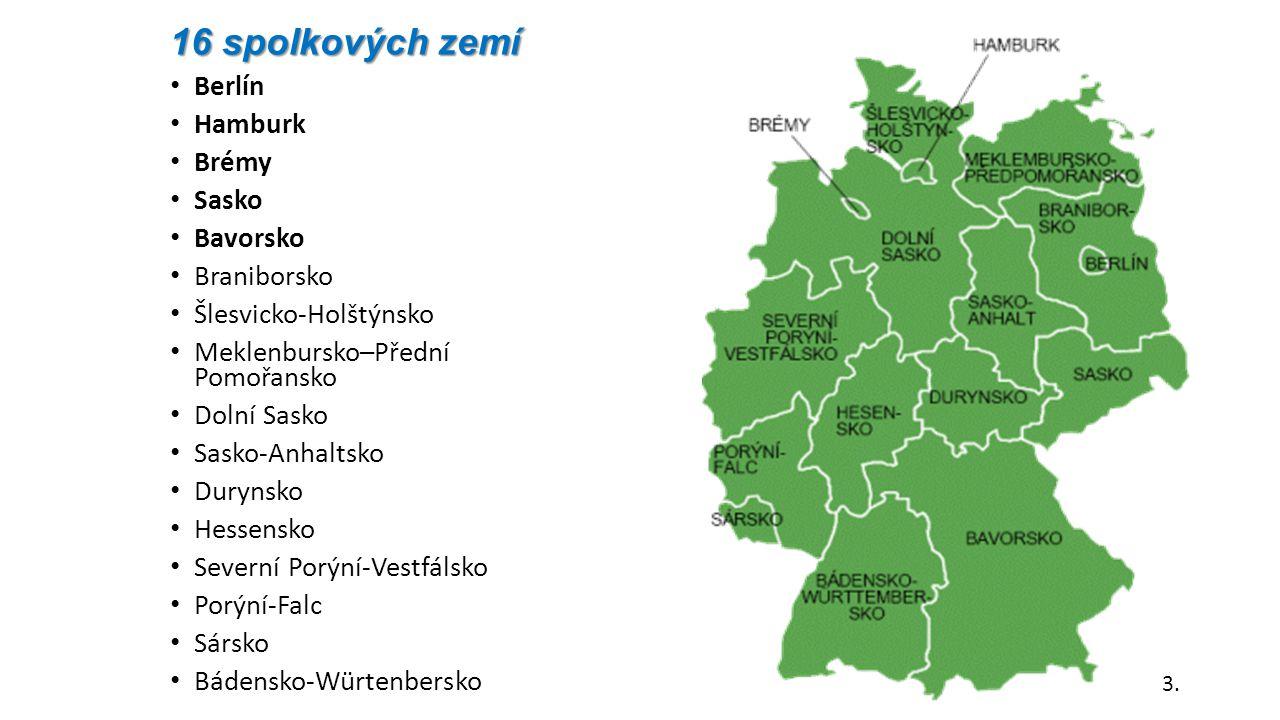 16 spolkových zemí Berlín Hamburk Brémy Sasko Bavorsko Braniborsko Šlesvicko-Holštýnsko Meklenbursko–Přední Pomořansko Dolní Sasko Sasko-Anhaltsko Dur