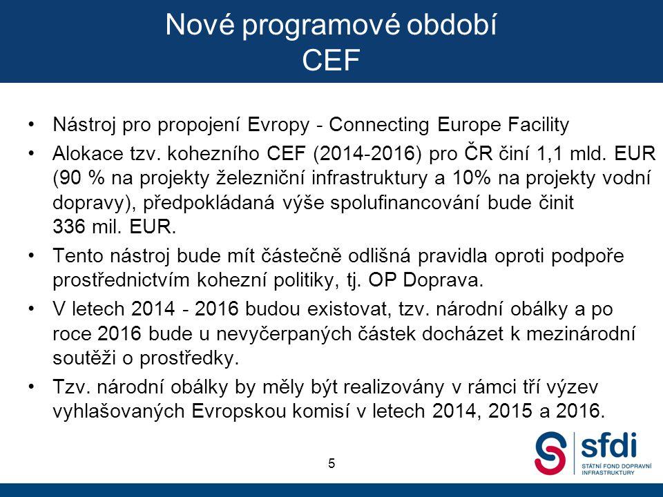 Nové programové období CEF Nástroj pro propojení Evropy - Connecting Europe Facility Alokace tzv. kohezního CEF (2014-2016) pro ČR činí 1,1 mld. EUR (