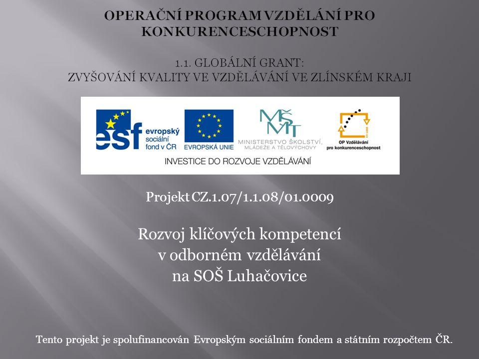 Projekt CZ.1.07/1.1.08/01.0009 Rozvoj klíčových kompetencí v odborném vzdělávání na SOŠ Luhačovice Tento projekt je spolufinancován Evropským sociální
