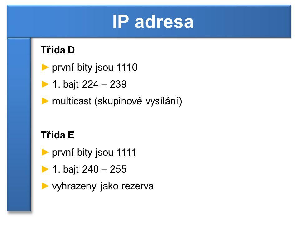 Třída D ►první bity jsou 1110 ►1.