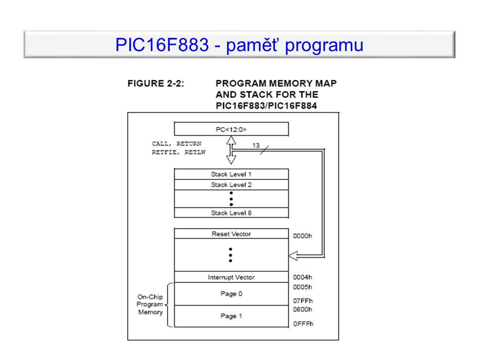 PIC16F883 - paměť programu