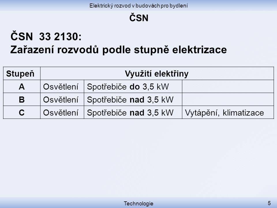 Elektrický rozvod v budovách pro bydlení Technologie 5 ČSN 33 2130: Zařazení rozvodů podle stupně elektrizace StupeňVyužití elektřiny AOsvětleníSpotře