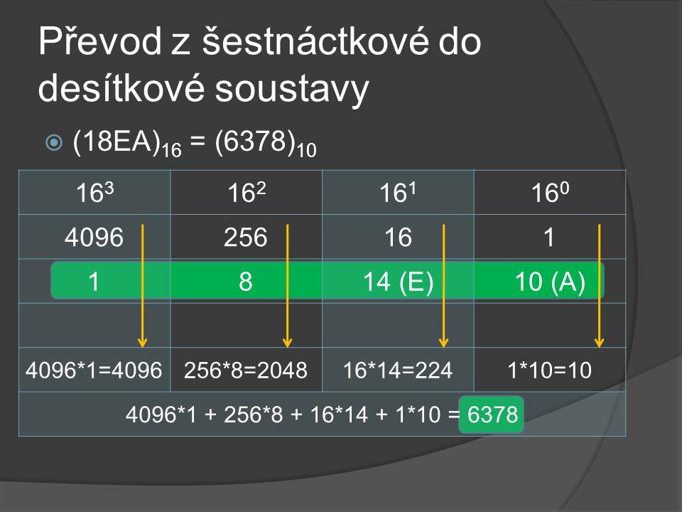 Převod z šestnáctkové do desítkové soustavy  (18EA) 16 = (6378) 10 16 3 16 2 16 1 16 0 4096256161 1814 (E)10 (A) 4096*1=4096256*8=204816*14=2241*10=1