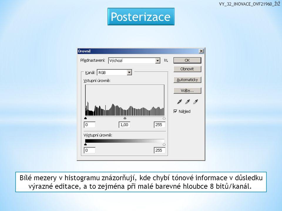 Bílé mezery v histogramu znázorňují, kde chybí tónové informace v důsledku výrazné editace, a to zejména při malé barevné hloubce 8 bitů/kanál.