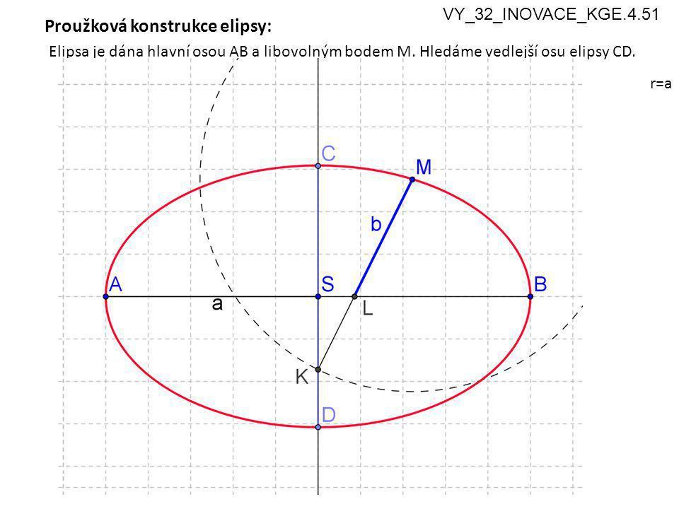 5 Proužková konstrukce elipsy: Elipsa je dána hlavní osou AB a libovolným bodem M.