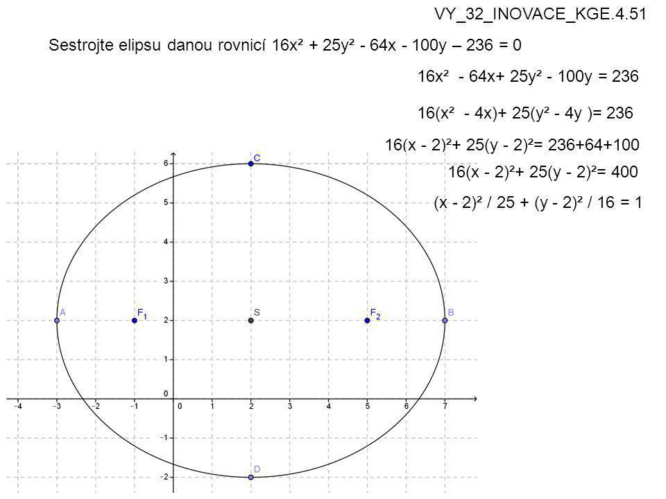 Sestrojte elipsu danou rovnicí 16x² + 25y² - 64x - 100y – 236 = 0 16x² - 64x+ 25y² - 100y = 236 16(x² - 4x)+ 25(y² - 4y )= 236 16(x - 2)²+ 25(y - 2)²= 236+64+100 (x - 2)² / 25 + (y - 2)² / 16 = 1 16(x - 2)²+ 25(y - 2)²= 400 VY_32_INOVACE_KGE.4.51