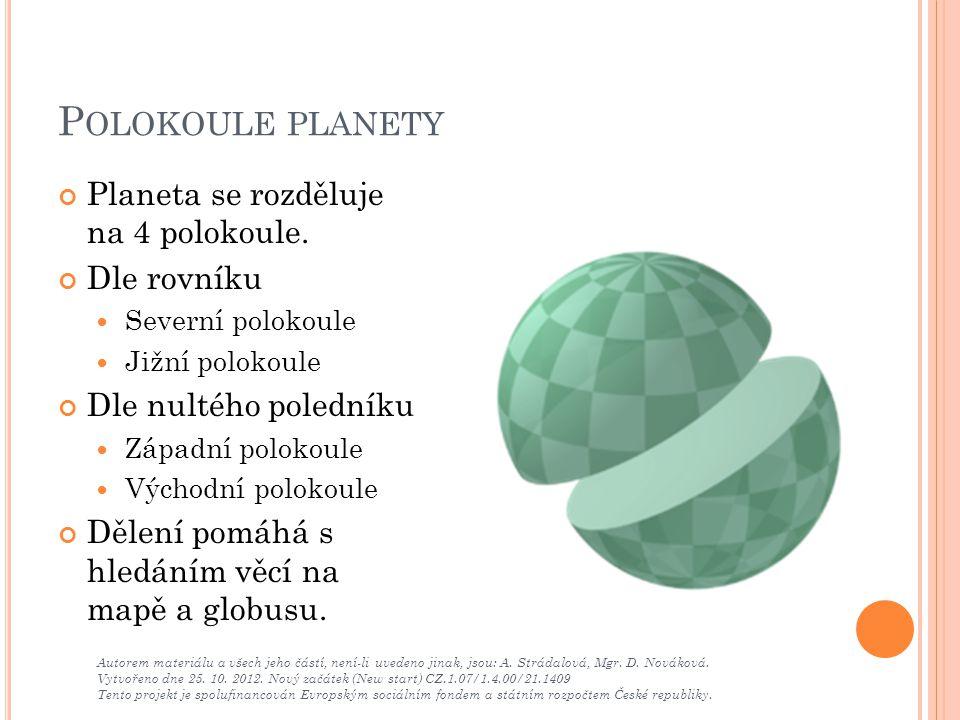 P OLOKOULE PLANETY Planeta se rozděluje na 4 polokoule. Dle rovníku Severní polokoule Jižní polokoule Dle nultého poledníku Západní polokoule Východní