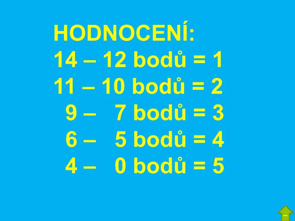 HODNOCENÍ: 14 – 12 bodů = 1 11 – 10 bodů = 2 9 – 7 bodů = 3 6 – 5 bodů = 4 4 – 0 bodů = 5 –